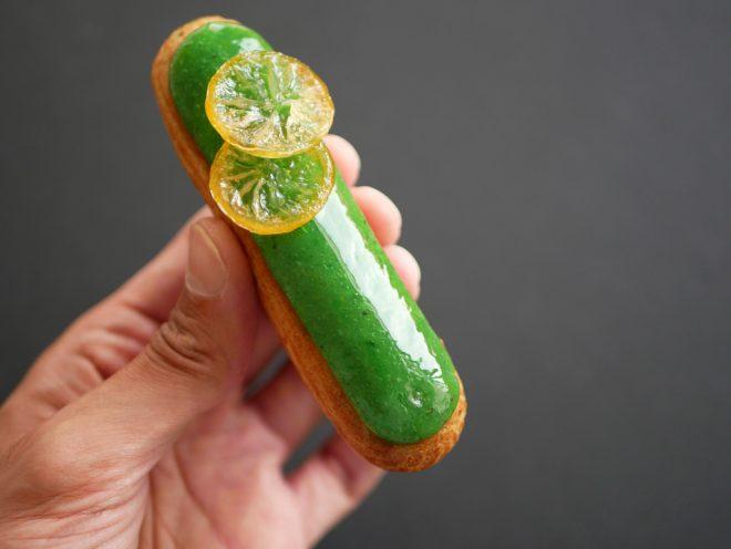 Pistachio lemon eclairs
