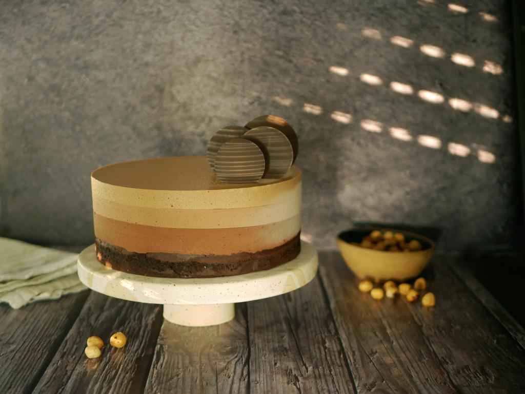 עוגת מוס שוקולד קפה וג'נדויה