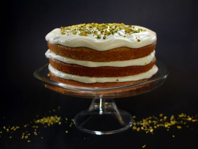 Pistachio Lemon Cake with Mascarpone Frosting