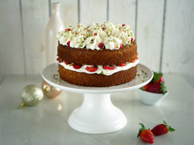 Pistachio Cake with Mascarpone and Strawberries