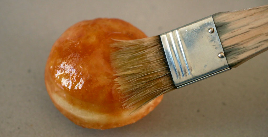 Brushing with melted butter
