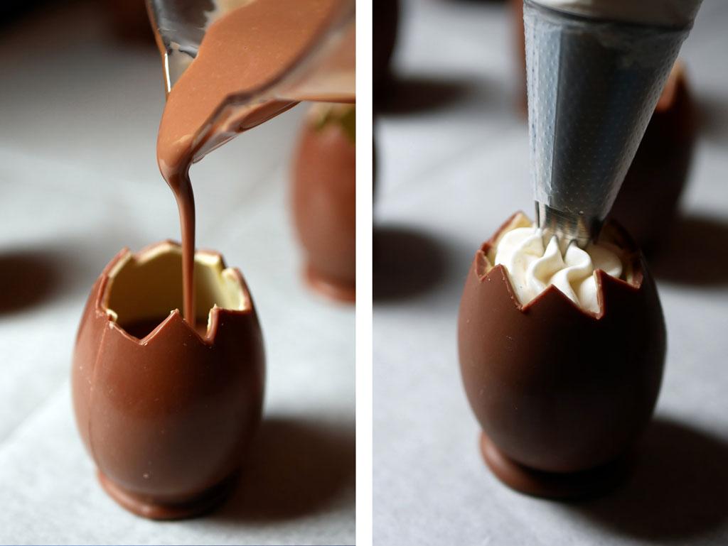 Chocolate Custard in a Kinder chocolate eggs