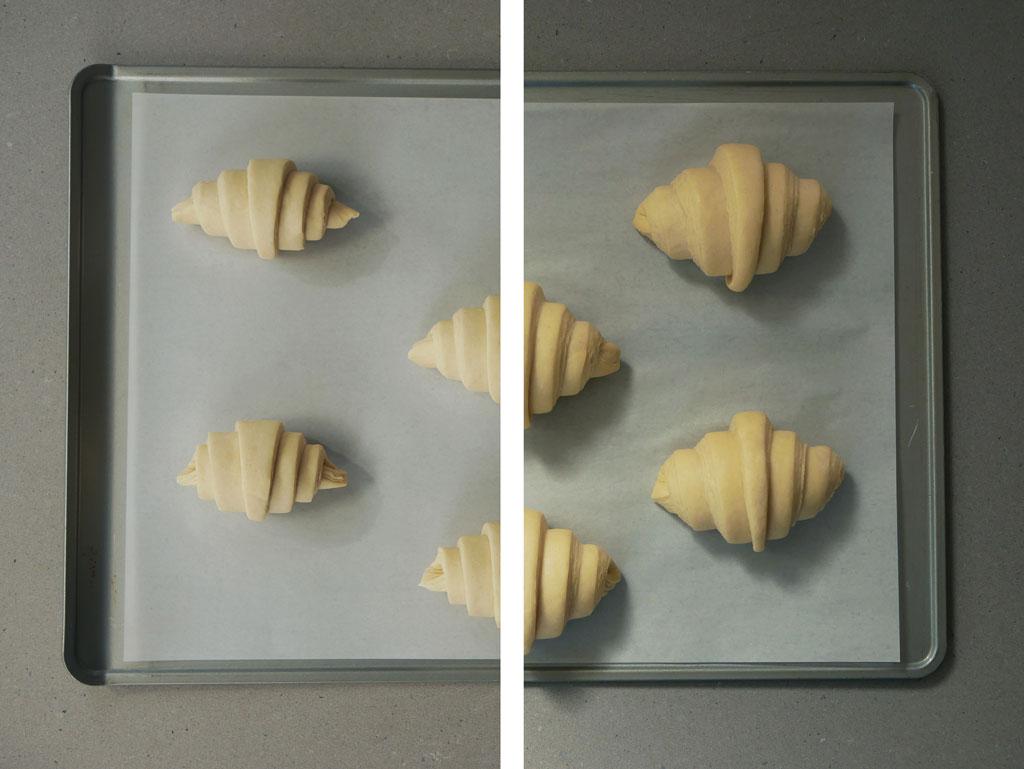 קרואסון חמאה לפני ואחרי אפייה