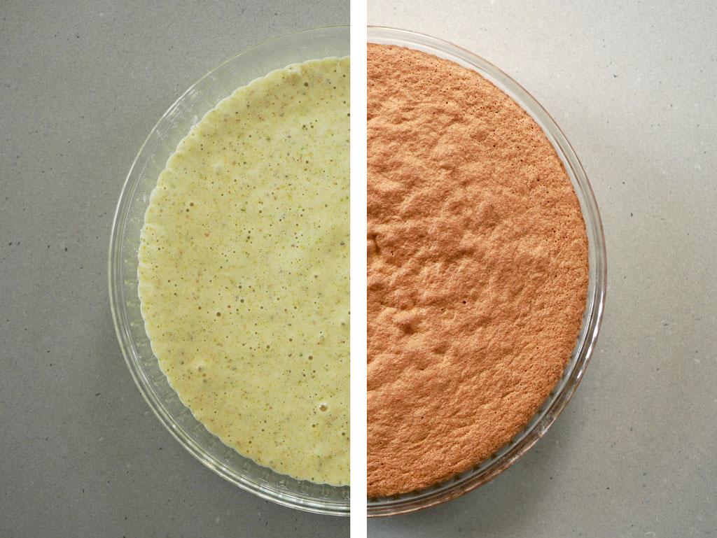 עוגת פיסטוק לפני ואחרי אפייה