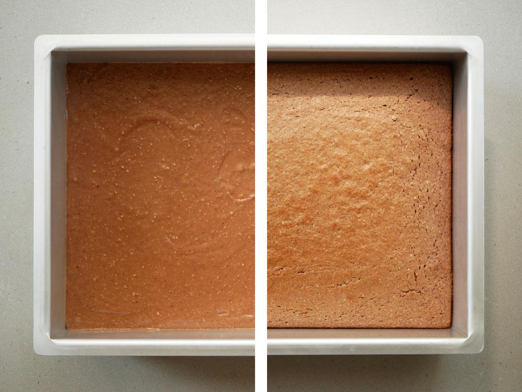 עוגת פררו רושה לפני ואחרי אפייה